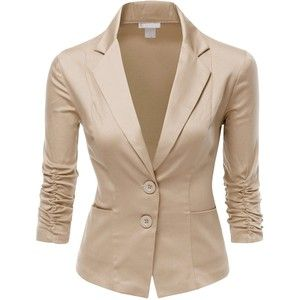 Doublju Womens 3/4 Sleeve Spandex Peaked Collar Cropped Blzer