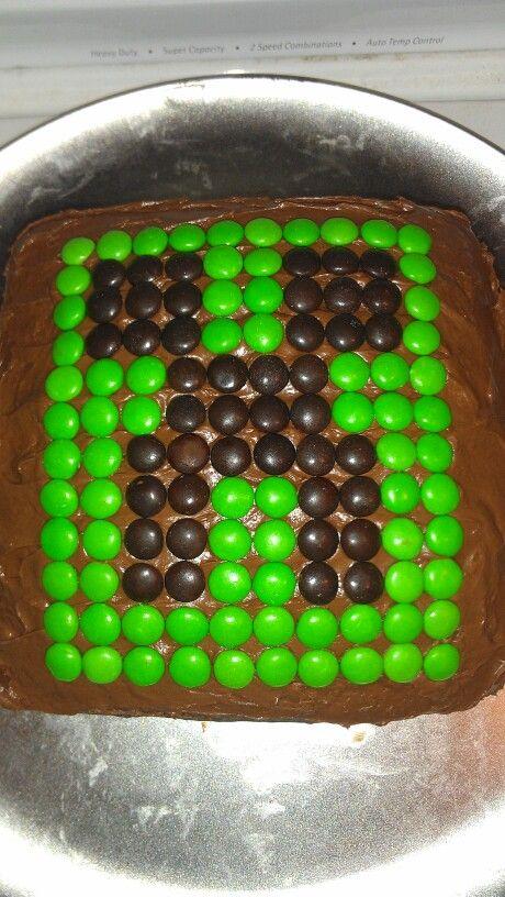 Minecraft Cake with MMs found at: http://media-cache-ec0.pinimg.com/originals/cf/ad/cd/cfadcdf9f4032a4e2321d2df9fff12ba.jpg