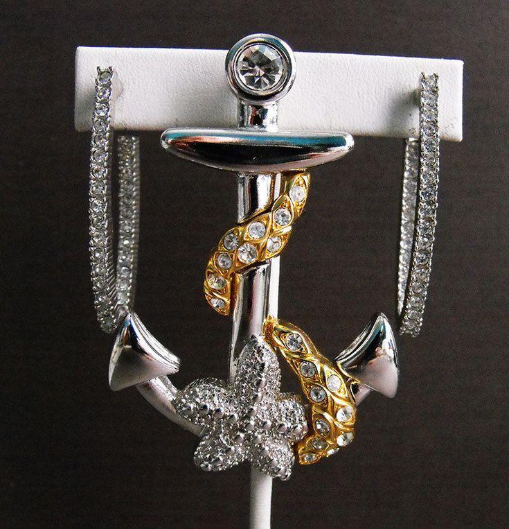 Kenneth Jay Lane Nautical Ship Anchor Starfish Brooch Earrings Rhinestone 2-Tone  | eBay