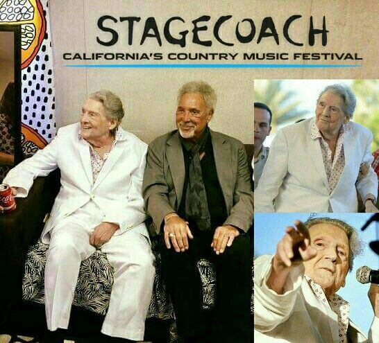 Jerry Lee Lewis and Tom Jones backstage at the Stagecoach Festival in Indio, California, April 28, 2017. (Just out of frame; Priscilla Presley!)