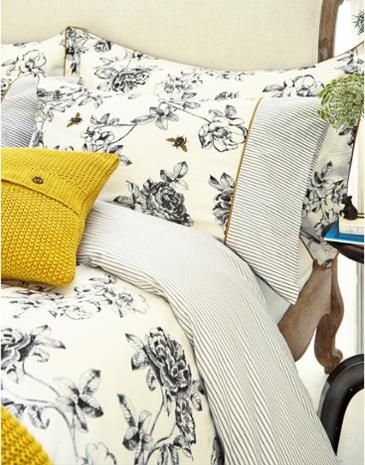 Charcoal florals mixed with mustard yellows work beautifully together!