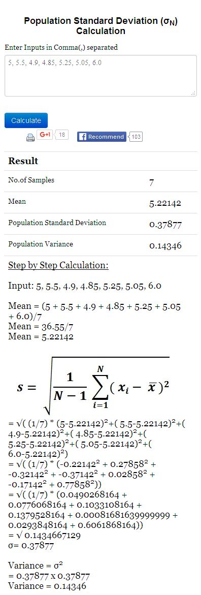 how to get sample deviation from population deviation