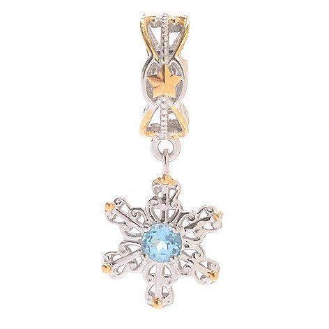 143-421 - Gems en Vogue Swiss Blue Topaz Dangling Snowflake Slide-on Charm