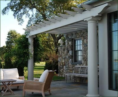 Attached Pergola with Fiberglass Columns - To enhance the home's style out to the outdoor room, this attached pergola and fiberglass columns are painted in a vinyl safe color that matches the trim.