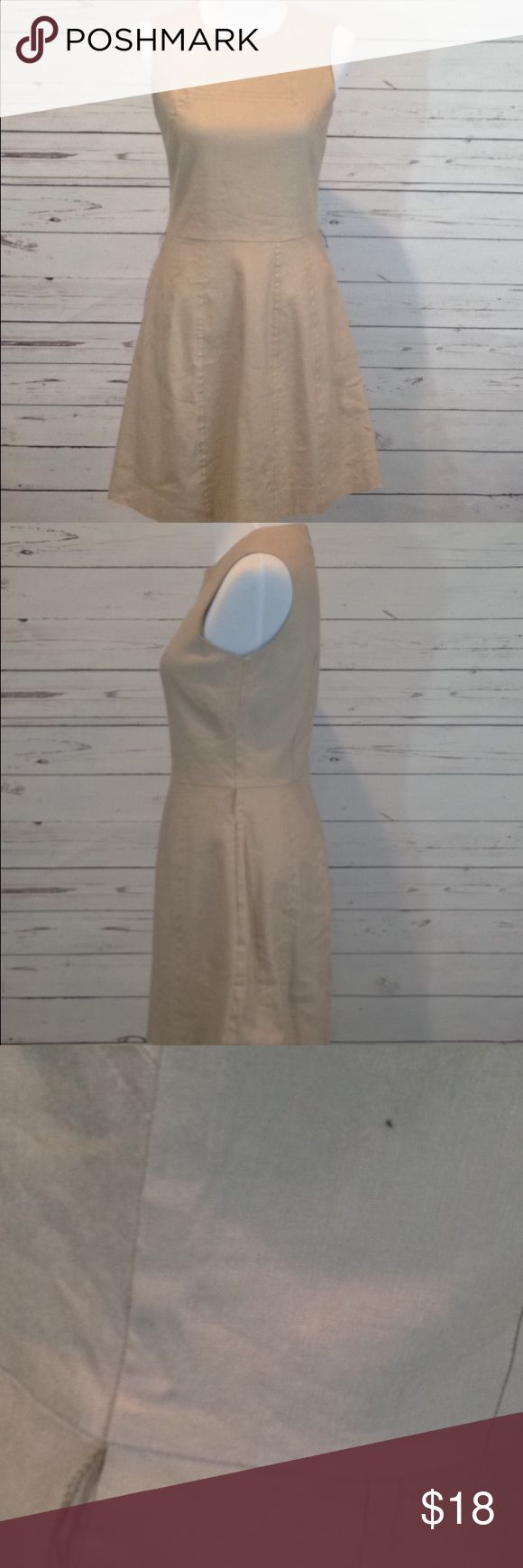 Women's Michael Kors Sleeveless Khaki Dress Size 4 •This dress is new without Tag, it is missing the belt and has 1 spot on the side (see photo) •Khaki color •Fully Lined •Sleeveless •zip up back •Size 4 Petite •Shell: 53% Linen 46% Rayon 1% Spandex •Lining: 100% Acetate MICHAEL Michael Kors Dresses Midi