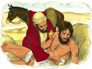 'Then a Samaritan who was traveling that way arrived on the scene. When he saw him, his heart was filled with pity. He went over to him, poured oil and wine on his wounds and bandaged them – Slide 9