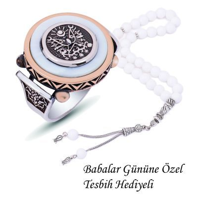 Gümüş Sedef Taşlı Osmanlı Arması Yüzük ve Tesbih Kombini Kombin Set ÖZEL EL İŞİ - ERKEK