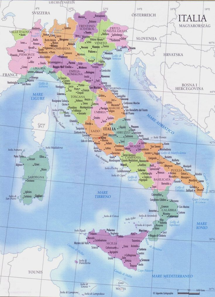 Italy regions map • mappery