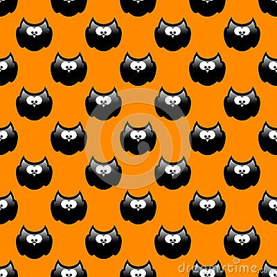 Halloween cartoon pattern with black owls and orange background