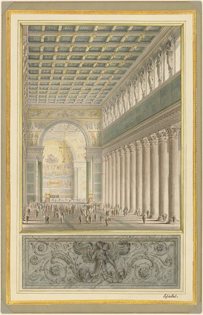 Karl Friedrich Schinkel (1781-1841) - Longitudinal Section of a Cathedral for Berlin, 1827