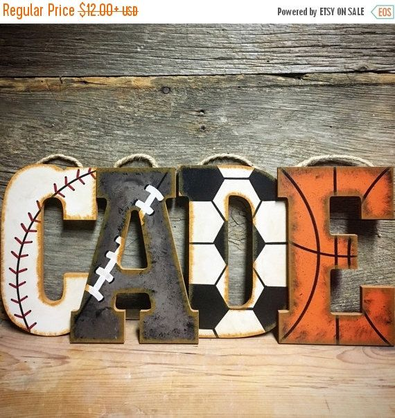 Sports Nursery Wall Letters-Hand Painted-Wood Letters-Baseball Nursery-Vintage Sports Nursery-Basketball Nursery-Football Nursery