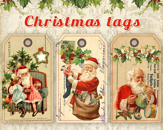 Christmas Gift Tags Printable Christmas Tags on Digital Collage Sheet Printable downloads Santa Gift Tags best for paper craft, scrapbook, Christmas decor made by FrezeArt