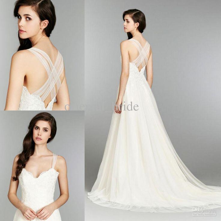 Wholesale Wedding Dresses - Buy 2014 Elegant Bridal Gown Summer Beach V Neck Straps A Line Open Back Bridal Dress Lace Chiffon Blush White Ivory Wedding Dresses, $139.0   DHgate