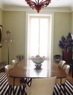Rosella Jardini's Dining Room Set  The sage walls of the dining room are offset by a 1930s Venini chandelier, prototype Fornasetti side chairs, and a midcentury-modern table.