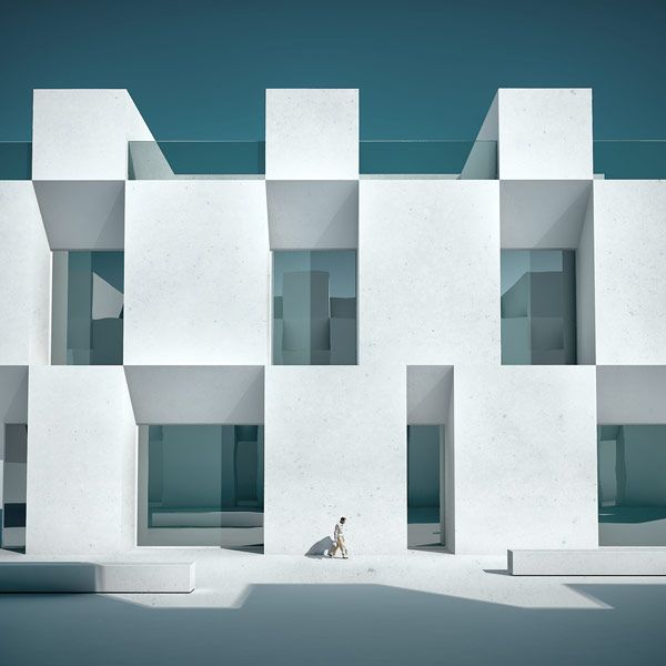 Bright modern architecture in rectangular shapes.