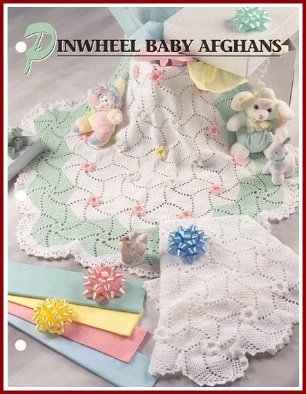 The Pinwheel Baby Afghans feature fun and easy-to-make motifs sewn together to create two unusual round afghans.