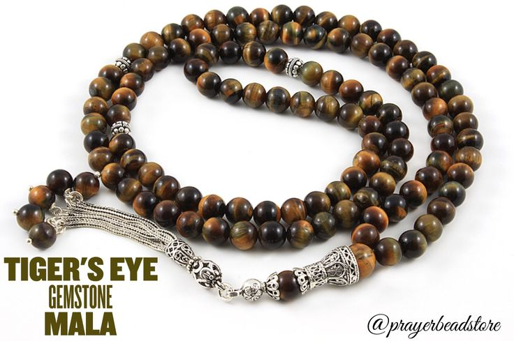 Tiger's eye gemstone meditation mala with Sterling silver #tigerseye #gemstone #meditation #mala