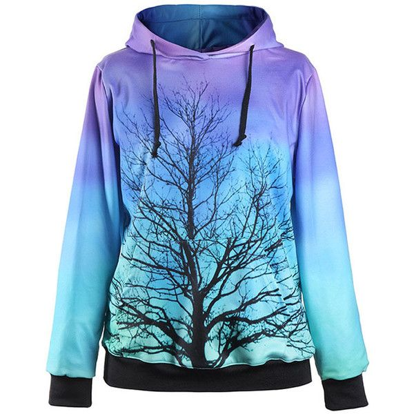 Jade Blue Tree Print Front Pocket Hooded Sweatshirt ($17) ❤ liked on Polyvore featuring tops, hoodies, blue top, graphic tops, hooded sweatshirt, blue print top and blue hoodie