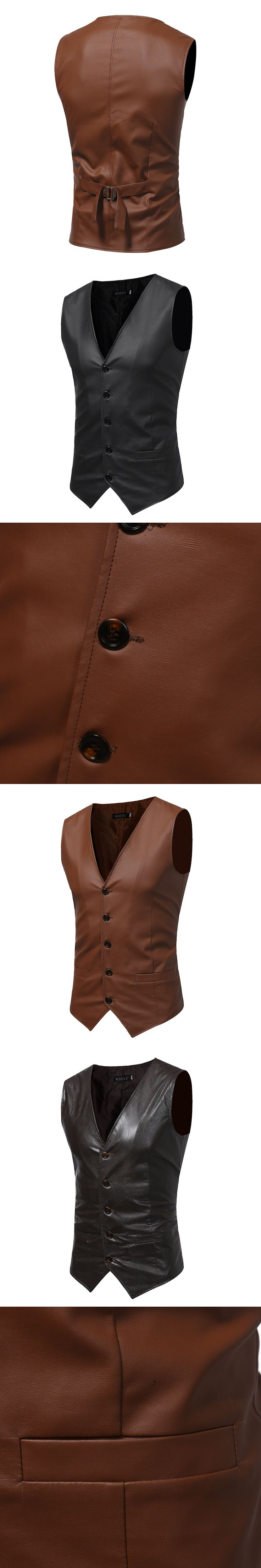 Men's Vest 2017 Europe Design Masculino Sleeveless Formal Suit Vest Brown Leather Vintage Gilet V-Necked Slim Fit Wedding Dress