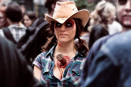zombie cowgirl.  pig tails and cowgirl hat!!!!!!