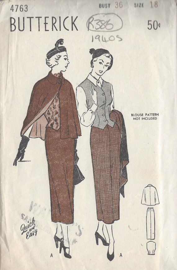 """72 1941 Vintage Sewing Pattern B38/"""" SWAGGER COAT By /'Du Barry/'"""