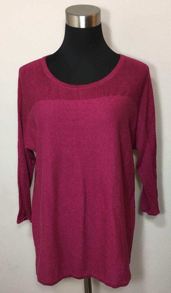 Ann Taylor Loft Womens Burgundy Red Sheer 3/4 Sleeve Silk Shirt Blouse Size XS  | eBay