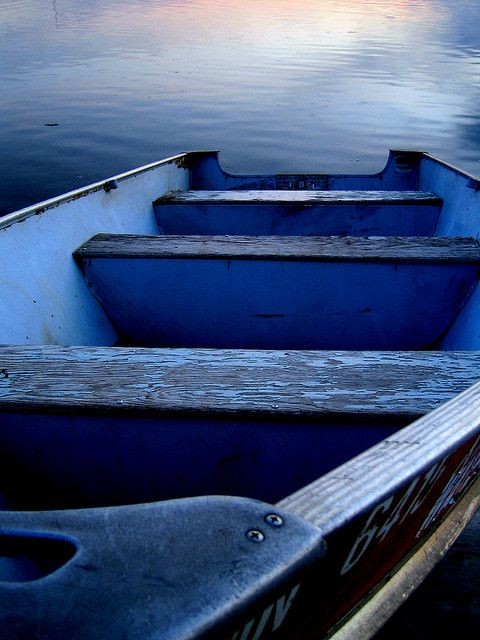 A blue wooden boat, Greece. - Selected by www.oiamansion.com in Santorini.