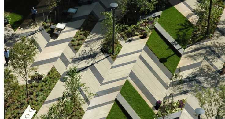Roof Design Ideas: Modern Paving Patterns And Planting Design Serve As A