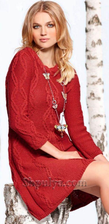 Красное платье с узором из кос спицами - SHPULYA.com