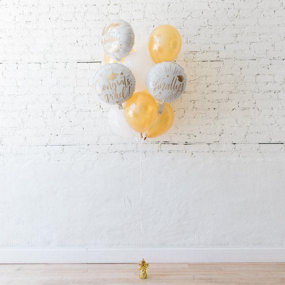 Graduation White & White Gold Balloon Bouquet / 2019 Graduation Party Decor / Graduation Gift / College Graduation Photo / High School Prom Graduation Decor