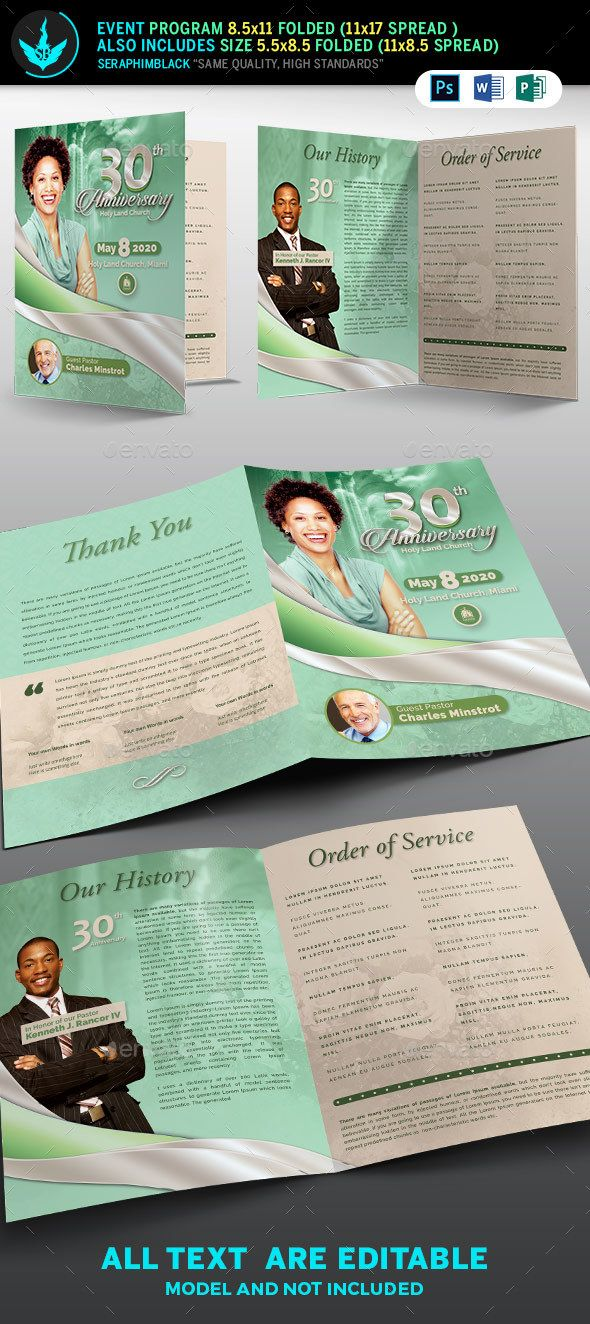 Mint Green plus Silver and Beige Church Anniversary Program Template