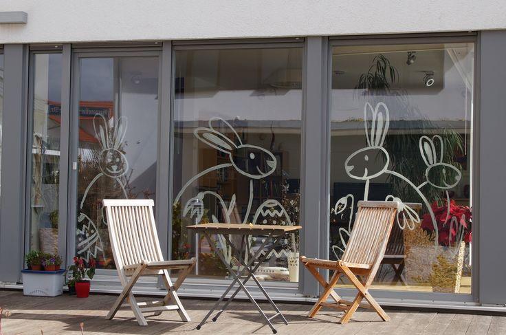 Osterdekoration Fenster Osterhasen Fenstermalerei easter bunny window decoration art