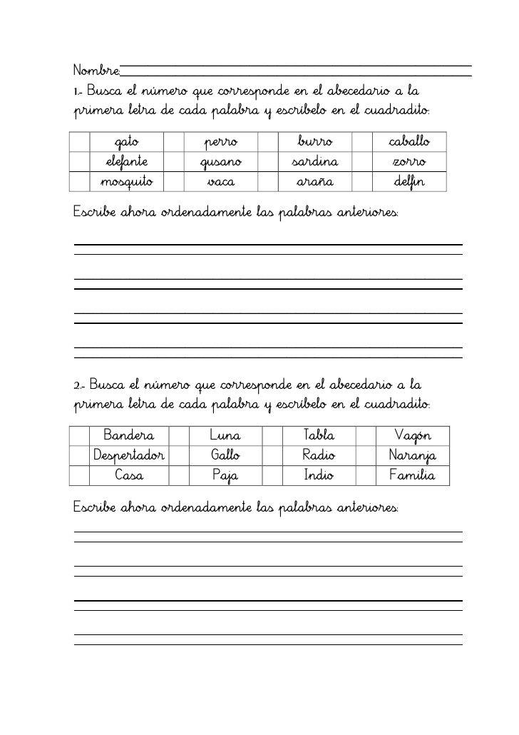 ejercicios de ordenar palabras alfabeticamente para imprimir pdf