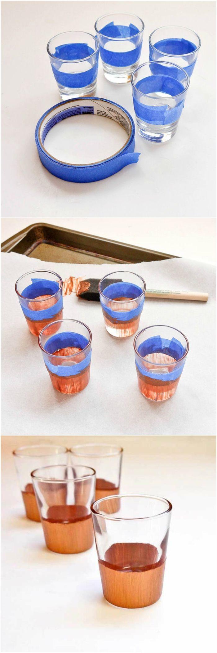 des verres à shooter personnalisée avec de la peinture cuivre pour un rendu élégant, idée géniale pour cadeau de noel pour homme