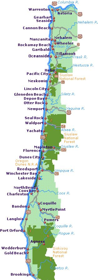 Simple Oregon Coast map with towns and cities.