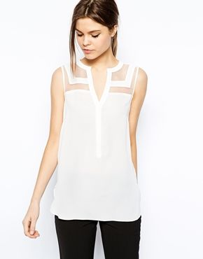 Image 1 of Warehouse Organza Panelled Sleeveless Blouse