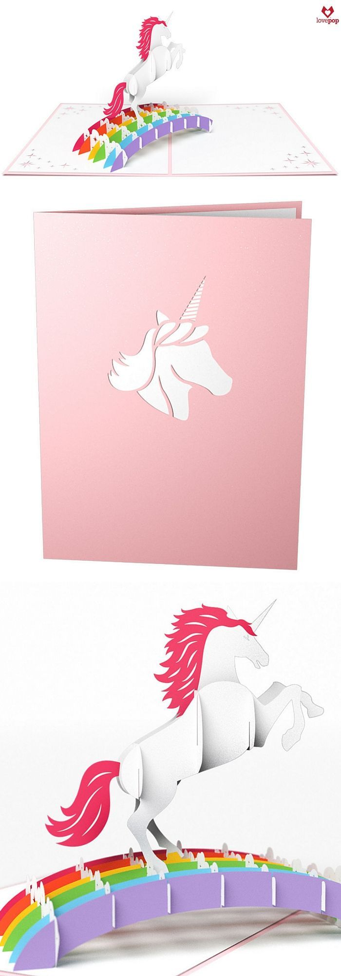 Gift a fun Happy Birthday 3D pop up card for unicorn lovers of any age. #overtherainbow #Unicorns