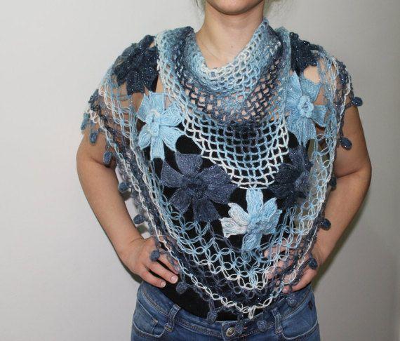 Handmade shawl  knitting shawl  Crochet knitted  by PinarKnitting
