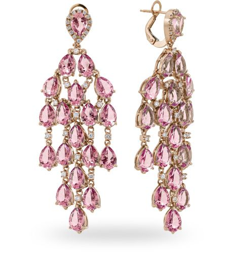 Orecchino in oro rose 18 kt. con 0.71 ct. di diamante - Zoccai #gold #earrings with #diamonds