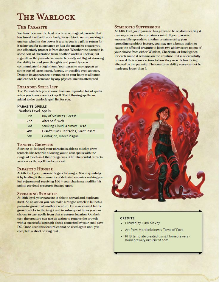 5e Homebrew — Homebrew Sub Class For The Warlock, A Pact With A...
