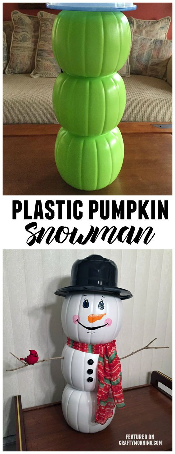 Use plastic pumpkin buckets from Halloween to make a cute snowman decoration for Christmas! Cute kids craft