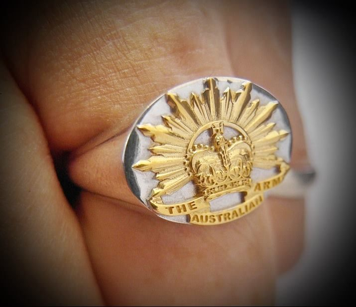 Australian Army Yellow 18kt Gold Plated Emblems remainder of ring white gold plated Rising Sun Ring http://silverhandicraftchiangmai.com/product/product_info.php?products_id=1026