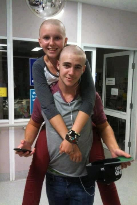"""I'm Luke. My girlfriend Kate was just diagnosed with cancer and lost all her hair. So for her, I shaved my head as well. I love this girl, please keep her in your prayers <3 Please reblog to show her that people out there care."" Will do, Luke. (:"