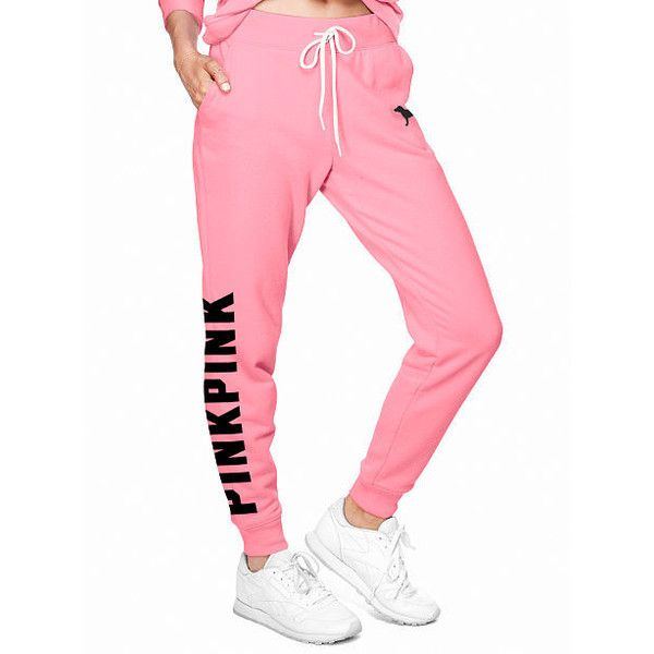 Sweatpants Joggers 68 Liked On Polyvore Featuring Activewear Activewear Pants Sweat Pants Pink Cute Sweatpants Cute Outfits With Jeans Pink Activewear