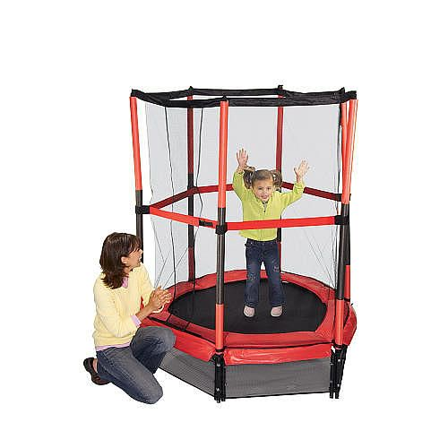 "The fun Stats  My First Trampoline - Red holds up to 100 pounds. When assembled, the trampoline measures 4'7"" in diameter. The safety enclosure and foam padded poles provide extra protection.<br><br>At the <b>Stats</b> Sports Store for outdoor sporting goods and equipment, great value is always in season! Sold exclusively at Toys'R'Us, <b>Stats</b> features cool starter golf, soccer, hockey and t-ball sets plus money saving multi sports backyard party sets that let you seamlessly go from…"