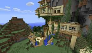 Minecraft house on the side of a mountain.