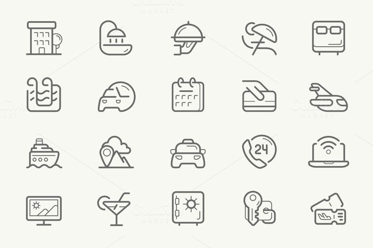 Hotel Services line icons ~ Icons on Creative Market
