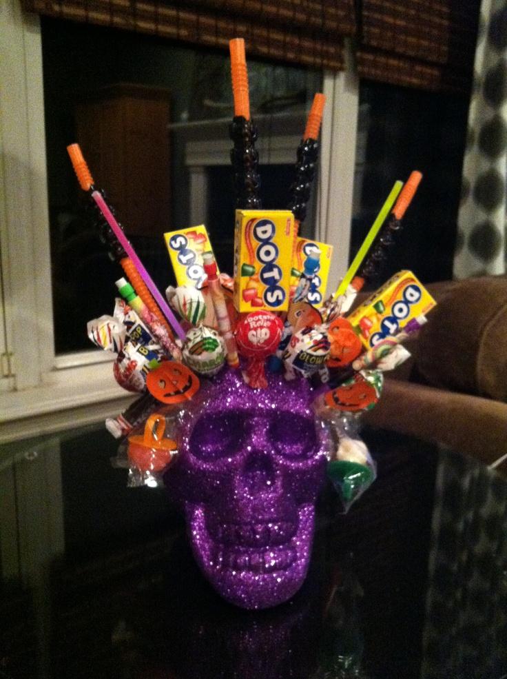 Halloween skull candy centerpiece or great hostess gift