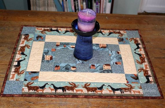 SALE: Blue Table Runner - Quilted Table Runner - Rustic Table Runner - Farmhouse Table Topper - Houses and Horses - CIJ