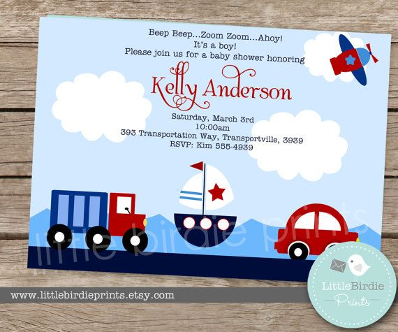 TRANSPORTATION INVITATION Printable for baby shower or birthday. Boat Nautical Truck Car Airplane PARTY -- Printable Invitation
